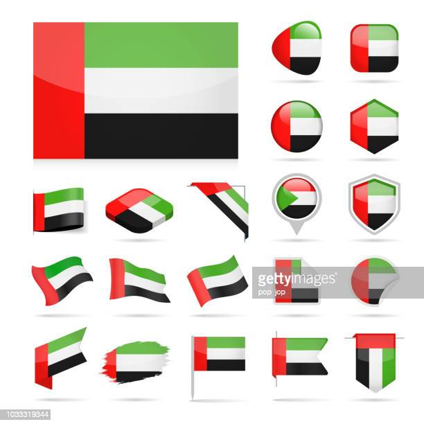 united arab emirates - flag icon glossy vector set - gulf countries stock illustrations