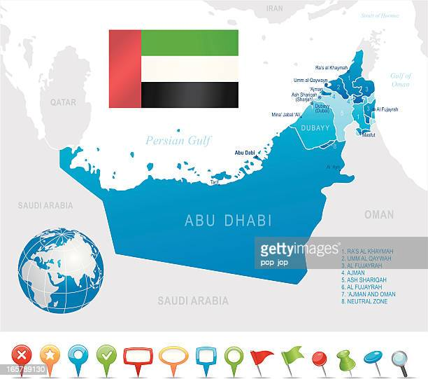 united arab emirates - highly detailed map - qatar stock illustrations, clip art, cartoons, & icons