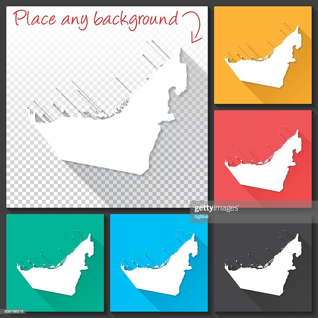 united arab emirates map for design long shadow flat design vector art