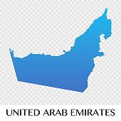 United Arab Emirates map in Asia continent illustration design