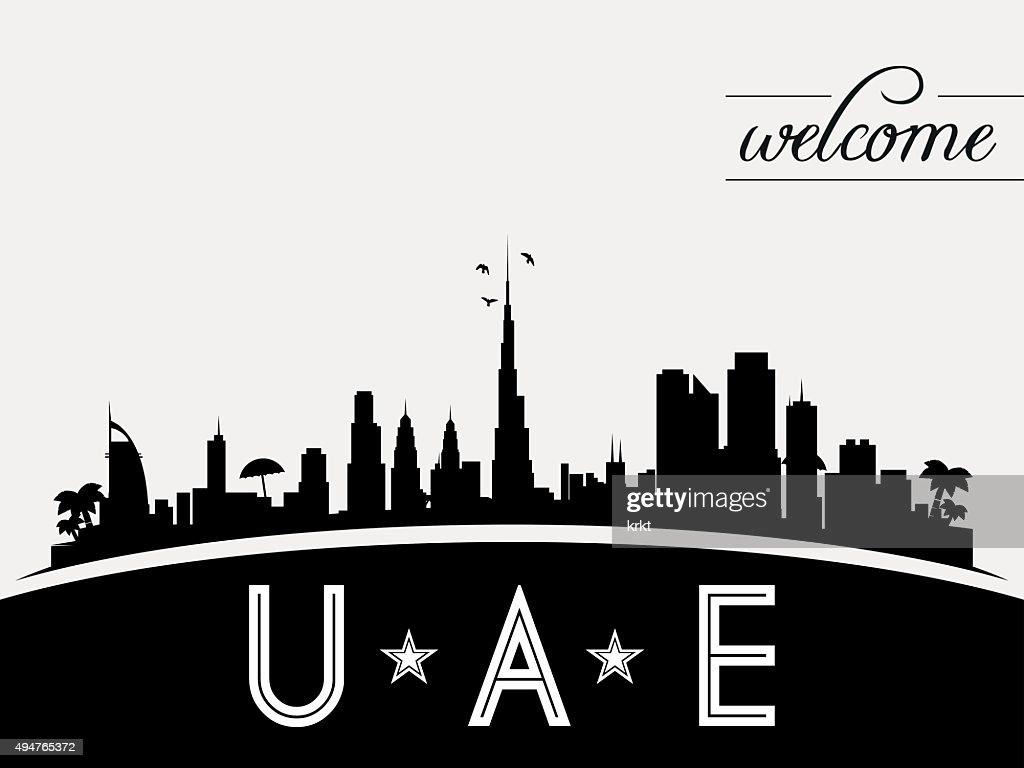 United Arab Emirates skyline silhouette vector design