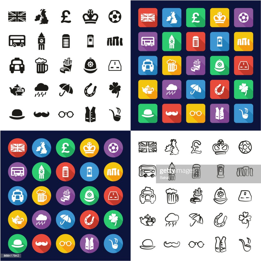 United Kingdom All in One Icons Black & White Color Flat Design Freehand Set