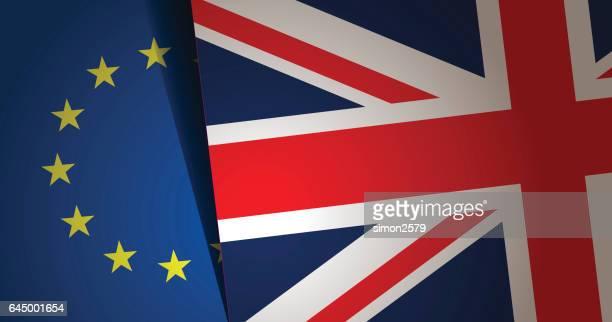 ilustrações, clipart, desenhos animados e ícones de fundo do reino unido e a bandeira da união europeia - brexit