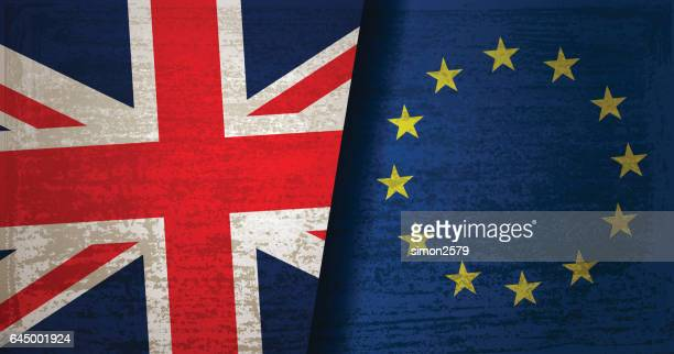 united kingdom and european union flag with grunge texture background - brexit stock illustrations