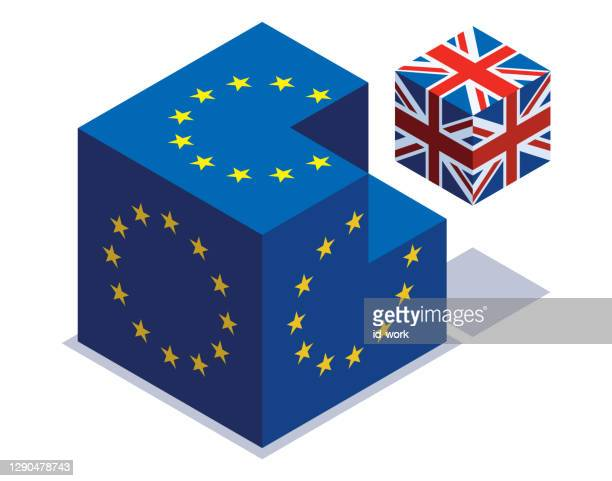 illustrations, cliparts, dessins animés et icônes de cubes de drapeaux du royaume-uni et de l'union européenne - brexit