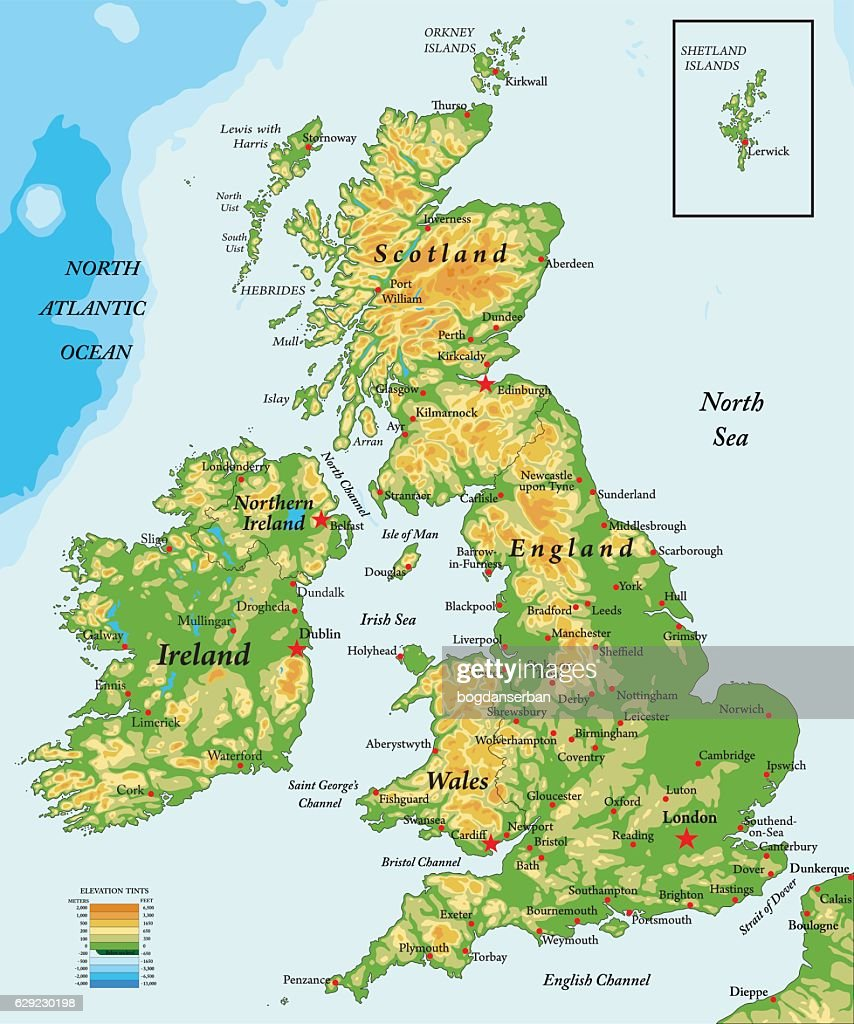 United Kingdom and Ireland-physical map
