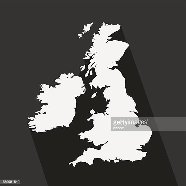 United Kingdom black and white map on background