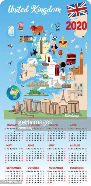 united kingdom calendar - northeastern england stock illustrations, clip art, cartoons, & icons