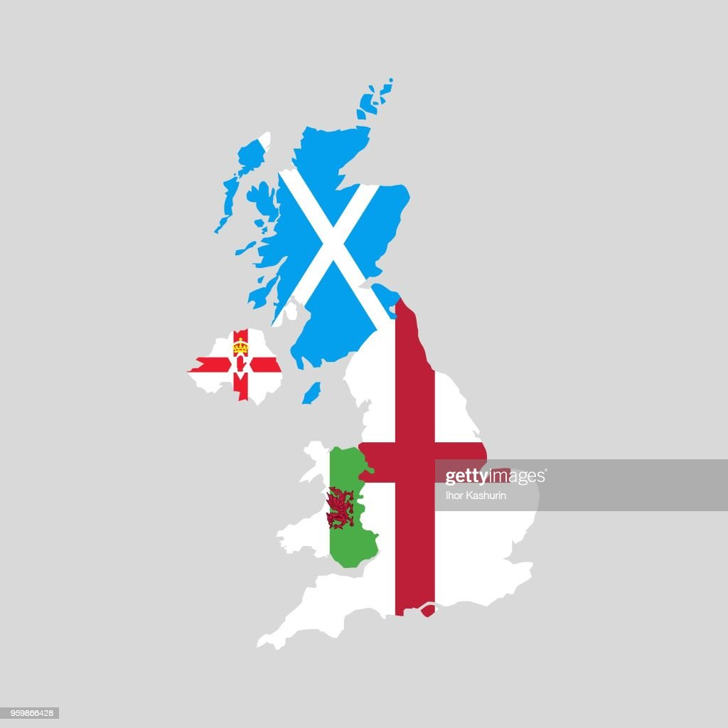 United Kingdom countries political map. England, Scotland, Wales, Northern Ireland