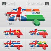 United Kingdom Flag. 3d vector puzzle. Set 10.