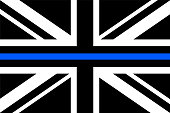 United Kingdom flag a with thin blue line - a sign to honor and respect british police, army and military officers