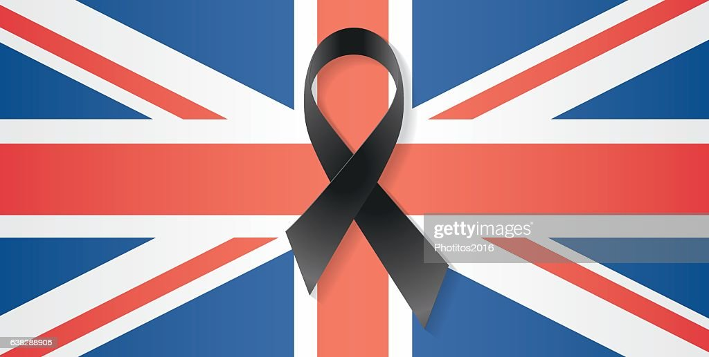 United Kingdom flag black ribbon