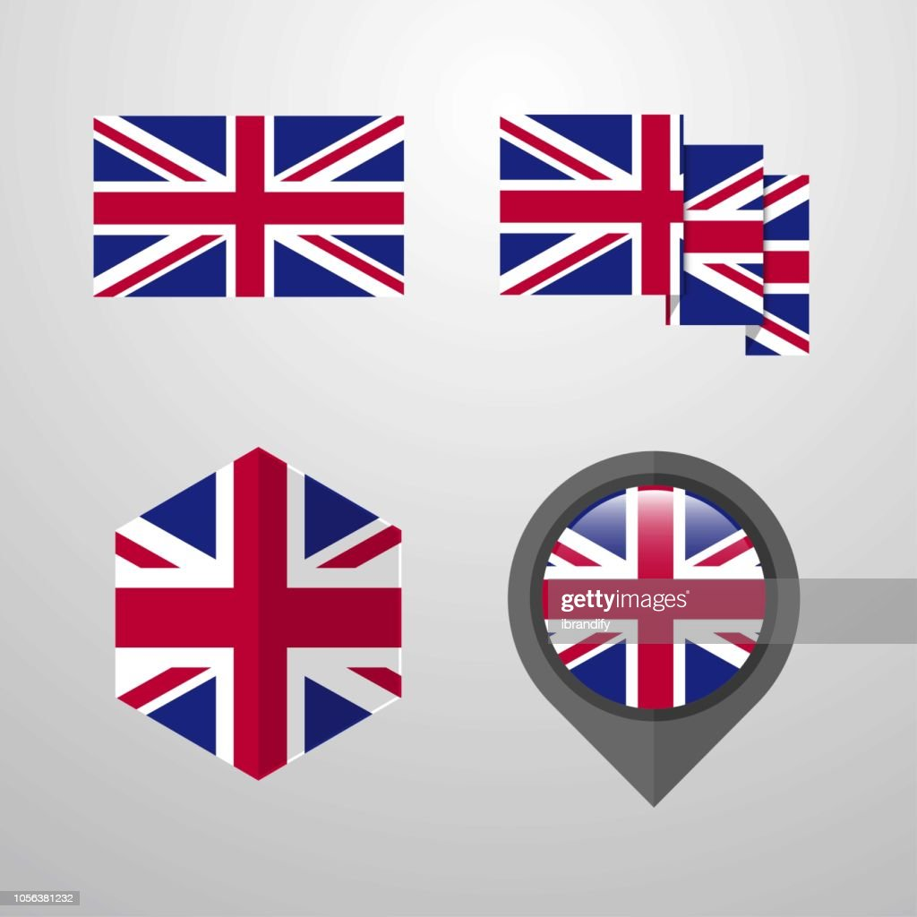 United Kingdom flag design set vector