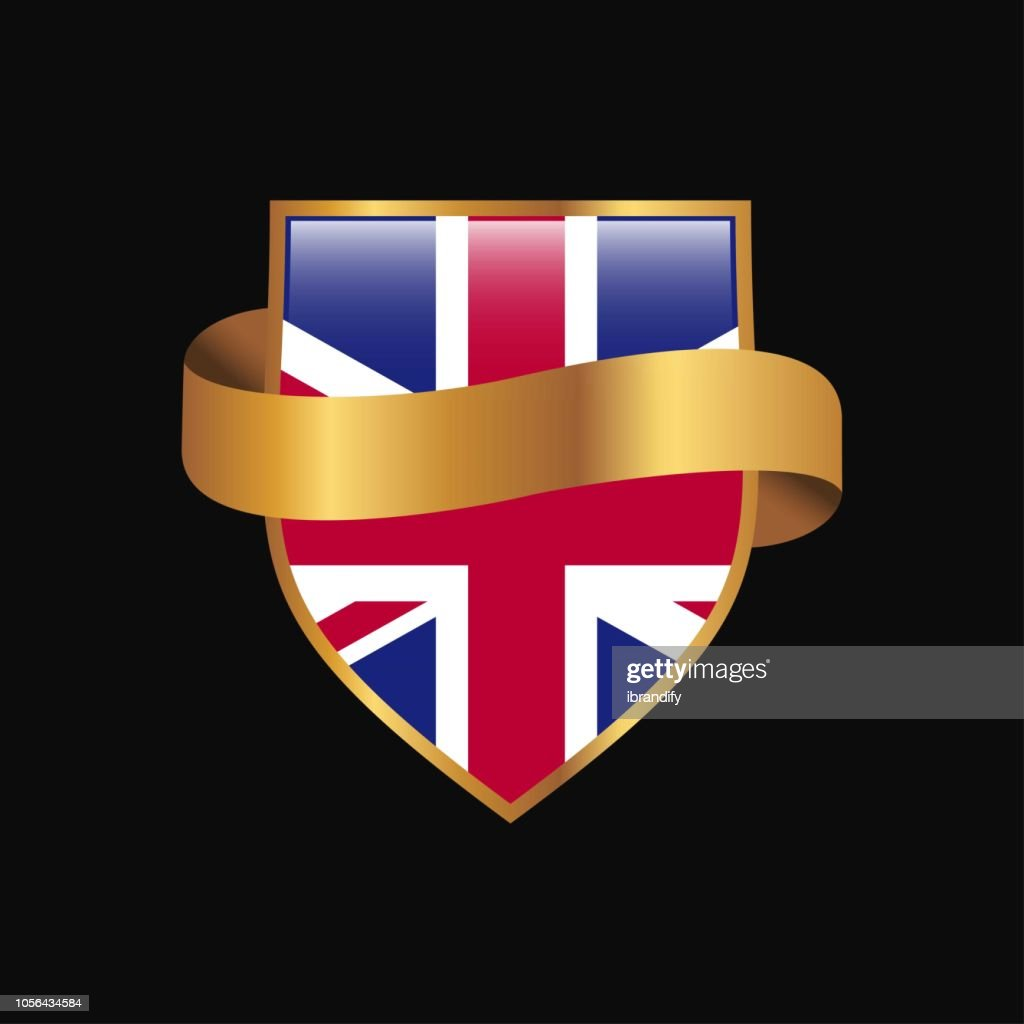 United Kingdom flag Golden badge design vector