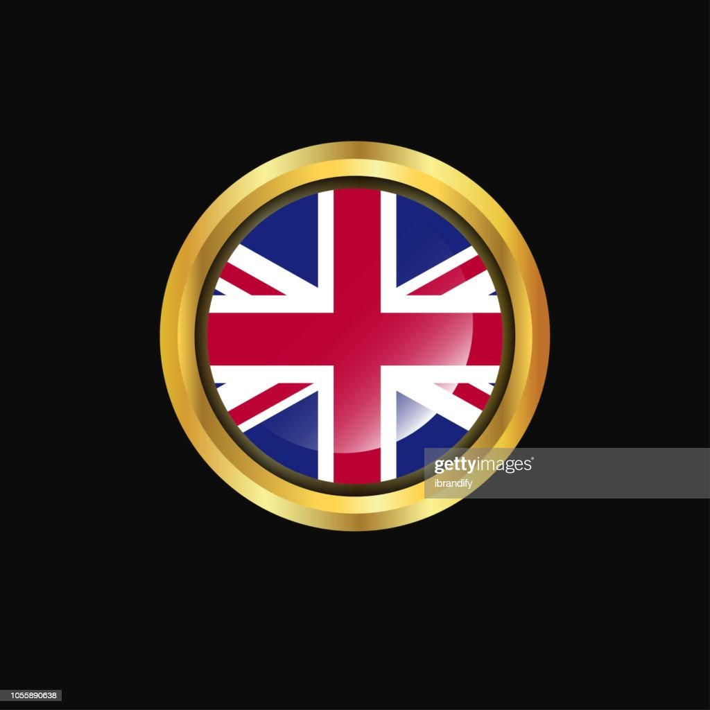 United Kingdom flag Golden button