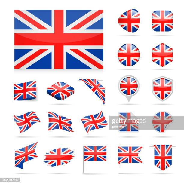 united kingdom - flag icon glossy vector set - arranging stock illustrations