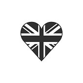 United Kingdom flag icon in a heart shape in black outline flat design