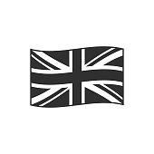 United Kingdom flag icon in black outline flat design