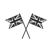 United Kingdom flag icon in black outline flat design