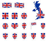 United kingdom flag icons set, national symbol of the Great Britain - Union Jack, UK icons