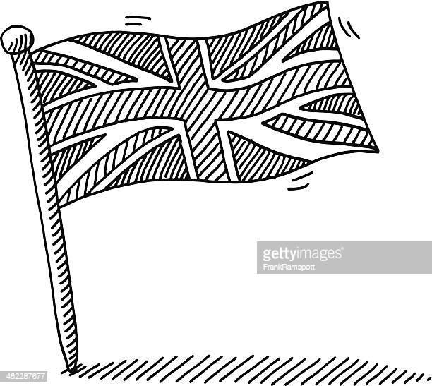 ilustraciones, imágenes clip art, dibujos animados e iconos de stock de reino unido bandera de dibujo - bandera del reino unido