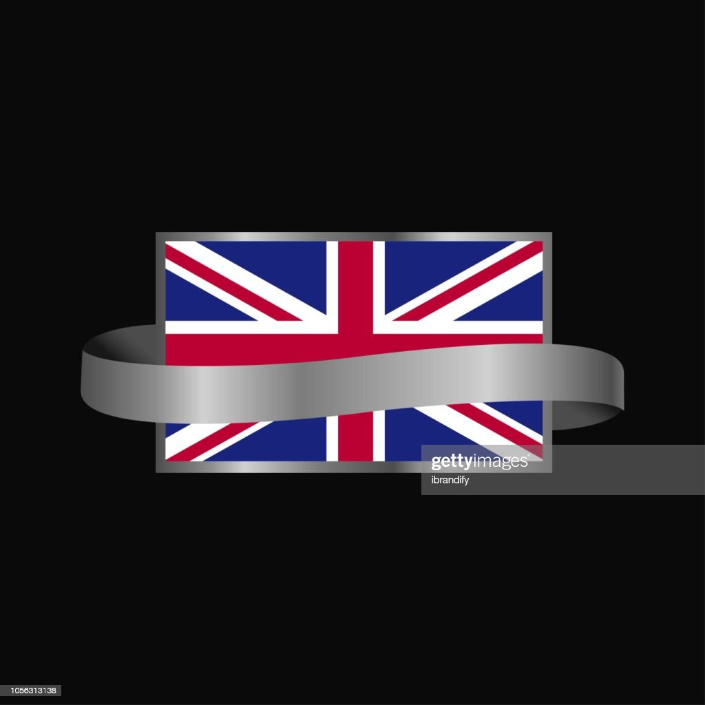 United Kingdom flag Ribbon banner design