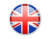 United Kingdom flag. Round bright Icon on a white background