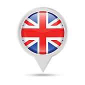 United Kingdom Flag Round Pin Vector Icon