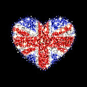 United Kingdom flag sparkling heart badge
