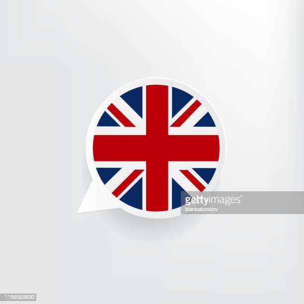 united kingdom flag speech bubble - english culture stock illustrations
