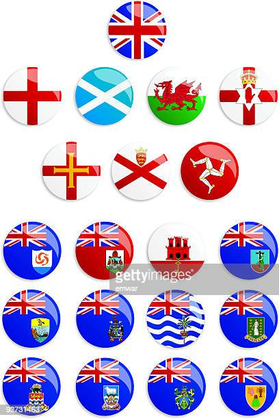 United Kingdom Flags Buttons