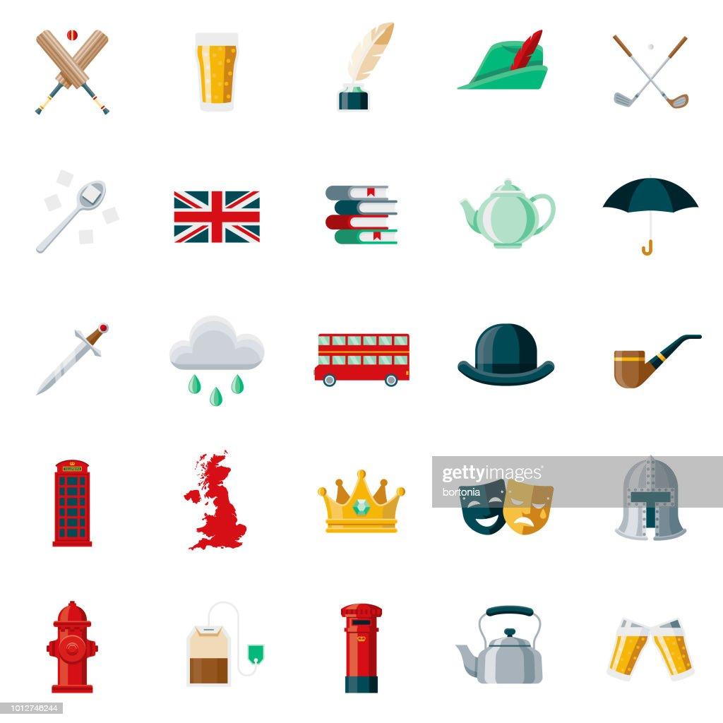 United Kingdom Flat Design Icon Set : stock illustration
