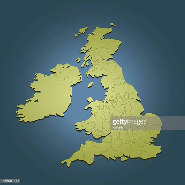United Kingdom green map on dark background in perspective view