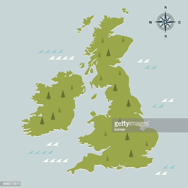 United Kingdom green travel map on light blue background