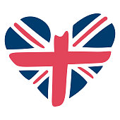 United Kingdom Heart Flag Vector