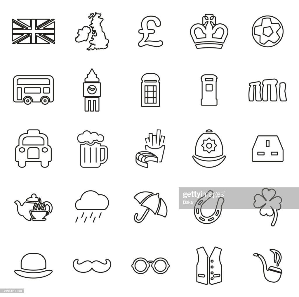 United Kingdom Icons Thin Line Vector Illustration Set