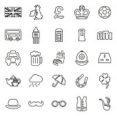 United Kingdom Icons Thin Line Vector Illustration Set