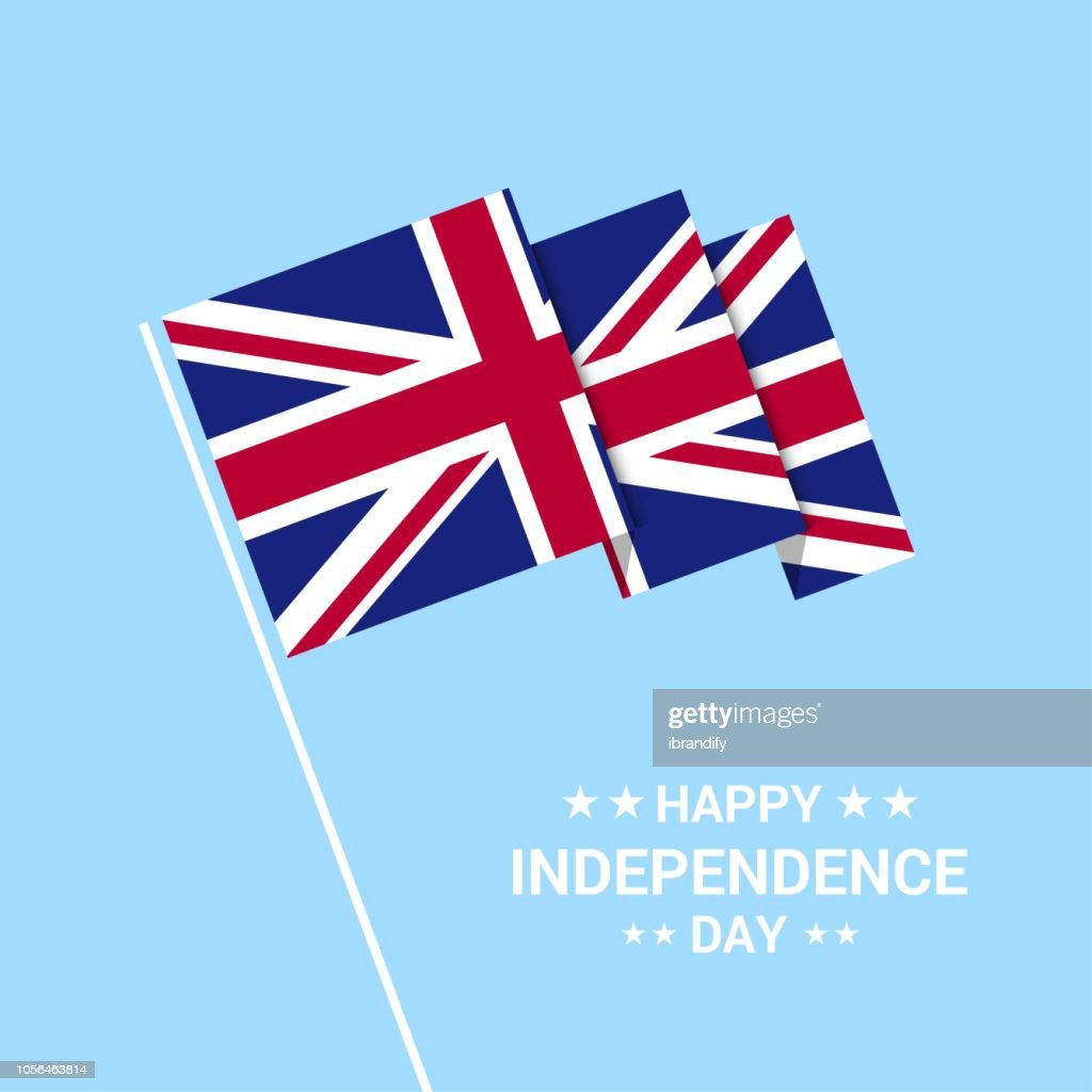 United Kingdom Independence day typographic design with flag vector