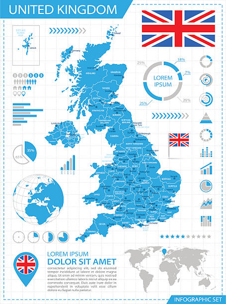 United Kingdom - Infographic Map - Illustration Wall Art