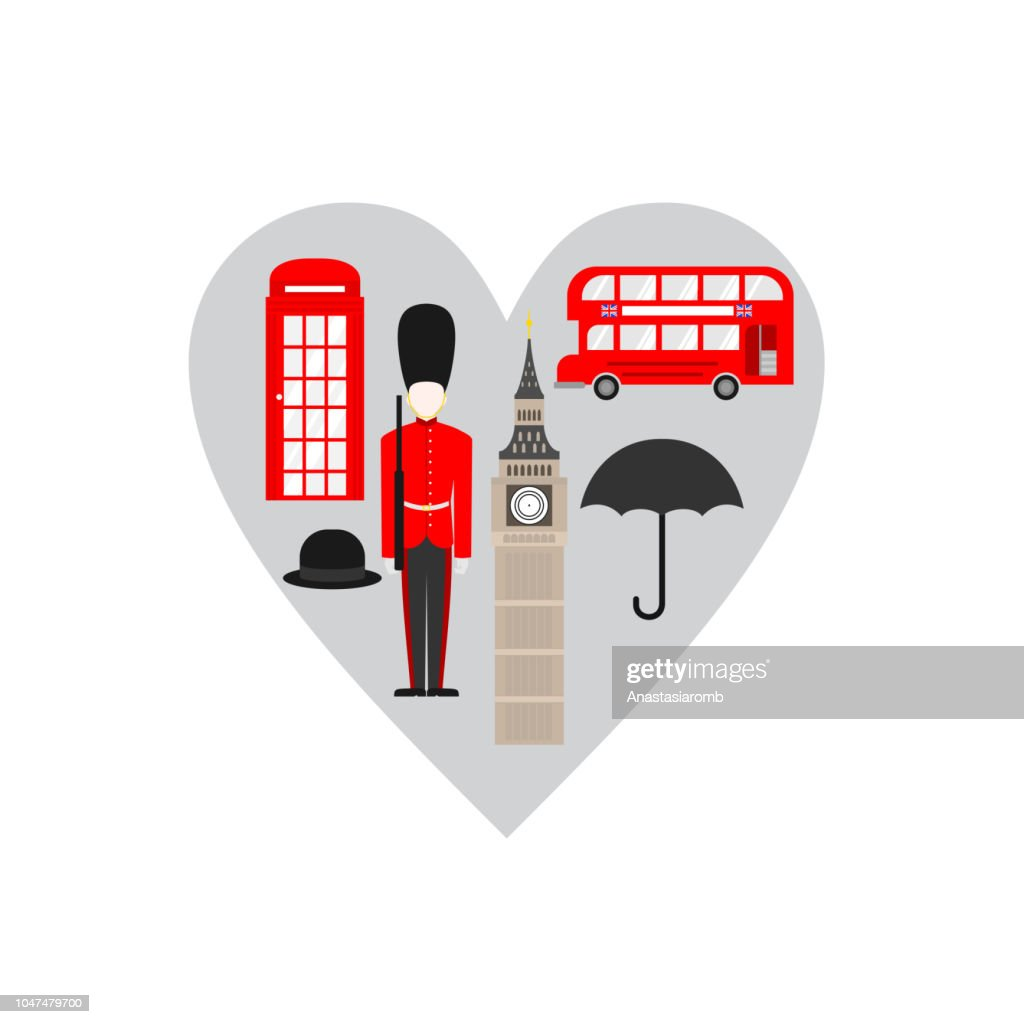 United Kingdom, London travel icon landmark. England Great Britain travel sightseeing in heart shape