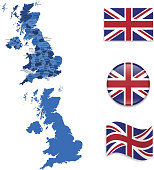 United Kingdom Map and Flag Collection