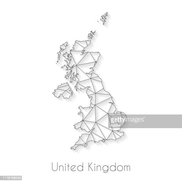 united kingdom map connection - network mesh on white background - uk stock illustrations