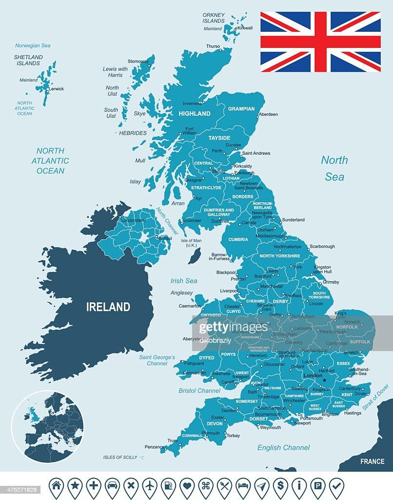 United Kingdom map, flag and navigation labels - illustration