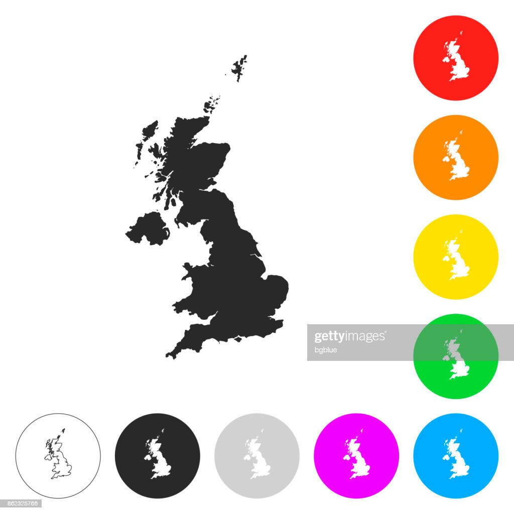 United Kingdom map - Flat icons on different color buttons