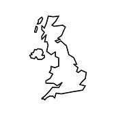 United Kingdom map icon isolated on white background. UK outline map. Simple line icon. Vector illustration