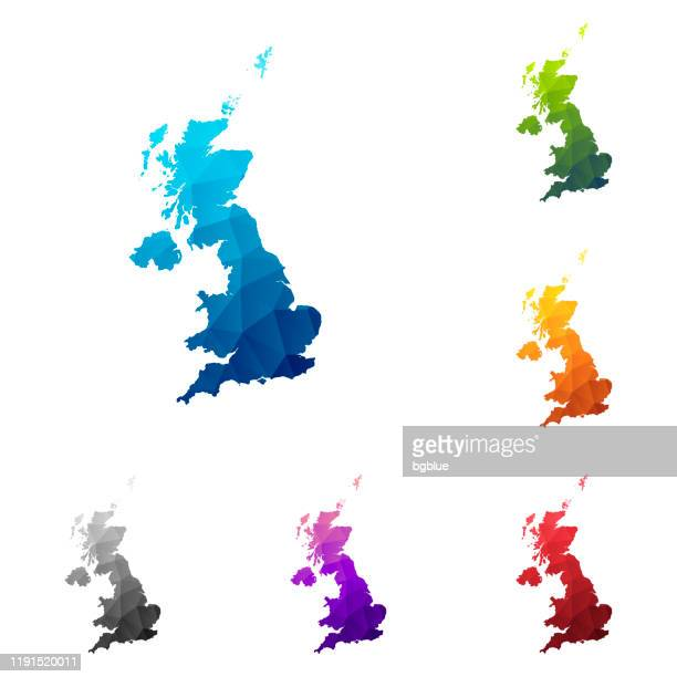 united kingdom map in low poly style - colorful polygonal geometric design - uk stock illustrations