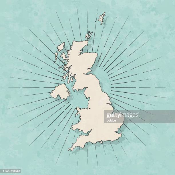 united kingdom map in retro vintage style - old textured paper - uk stock illustrations