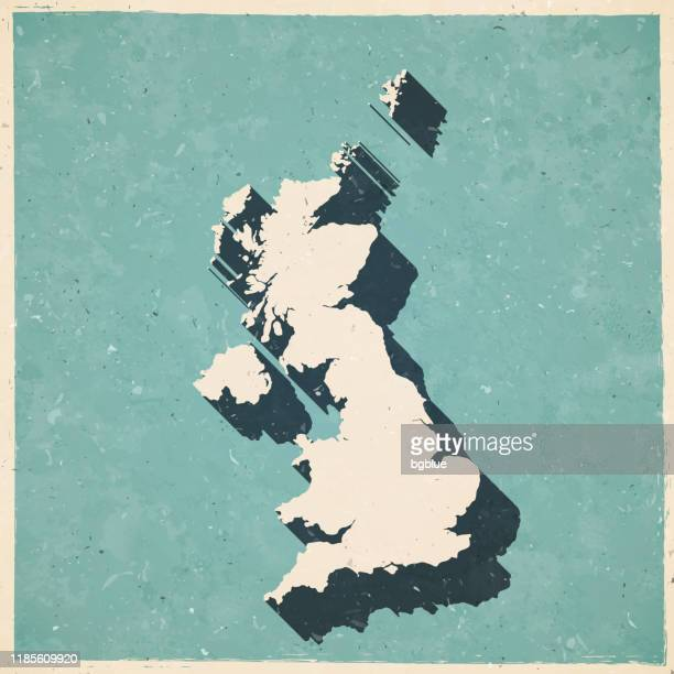 united kingdom map in retro vintage style - old textured paper - england stock illustrations