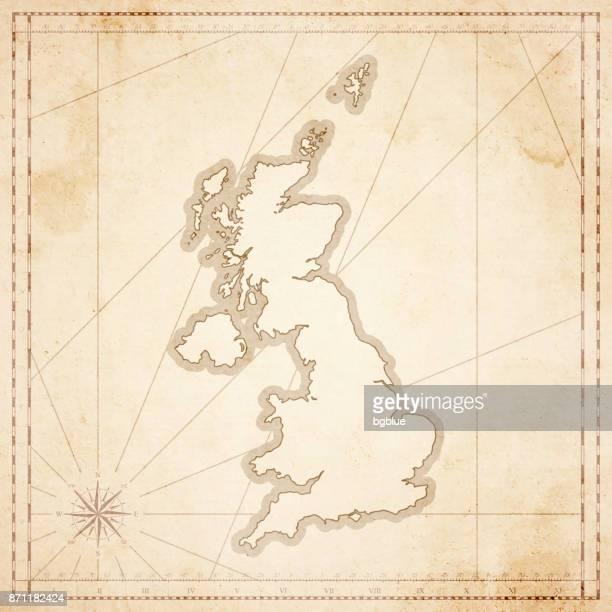 vereinigtes königreich-karte im retro-vintage-stil - strukturierte altpapier - geschichtlich stock-grafiken, -clipart, -cartoons und -symbole
