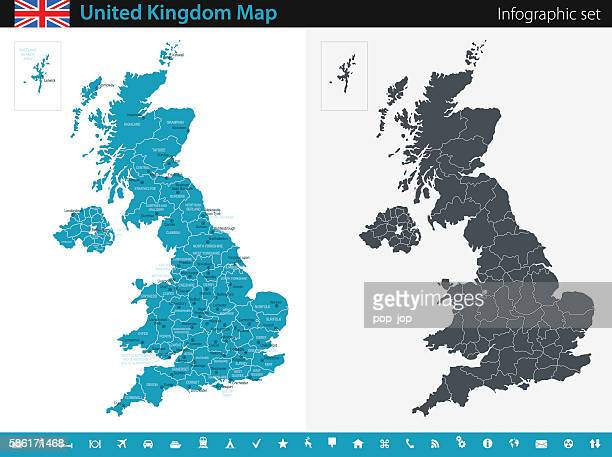 stockillustraties, clipart, cartoons en iconen met united kingdom map - infographic set - groot brittannië
